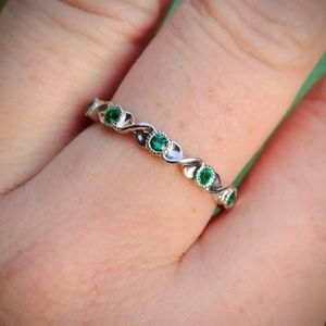 10K Gold Over Silver Emerald Twist Infinity Ring